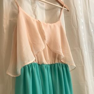 Cream and teal side split maxi dress